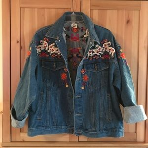 Vintage southwest embroidered jean jacket cat lady
